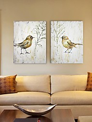 Hand Painted Wall Decor, Retro Style Animal Birds Hand Painted Wall Décor Set of 2