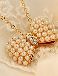 Glücklich Puppe Frauen Perlebowknot Halskette