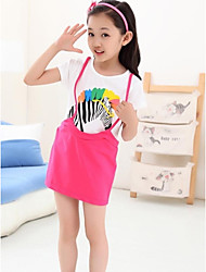Happy Girl's Fashion Casual Lovely Zebra Pattern Short Sleeves Dress