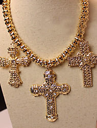 Meet You Golden Cross Shaped Necklace Inlaid With Austrian Rhinestone