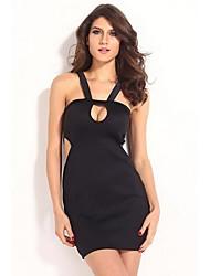 Dear-lover®Women's Horizontal Collar Condole Belt Bodycon Mini Dress