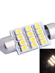 36mm 3W 150LM 3000K 12x3528SMD Warm White LED für Auto Lesen / Kfz-Kennzeichen / Türleuchte (DC12V, 1Stk)