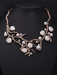 Women's Vintage Branches Jewels Pearl Diamond Necklace Imitation Diamond Birthstone