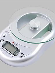 LCD-scherm digitale elektronische keukenweegschaal 5000g / 1g, plastic 13.5x13.6x4.5cm