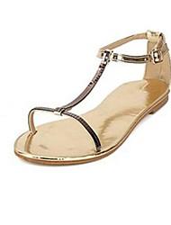 Patent Leather Women's Flats Heel T-Strap Sandals Shoes(More Colors)