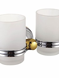 Chrome Finish Contemporary Style Brass Wall Mounted Double Cup Toothbrush Holder