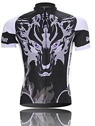 homens xintown do lobo fantasma de manga curta de poliéster respirável ciclismo jersey-preto + branco
