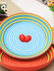 Rainbow Hand-painted Ceramic Plate Random Color,16.3X16.3X4CM