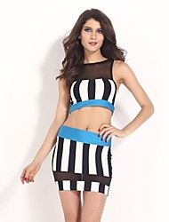 Women's Sexy Lady Bandage Vertical Stripes Suit(Blouse&Skirt)