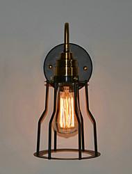 60W luce minimalista parete artistica con paralume nero scheletro in metallo