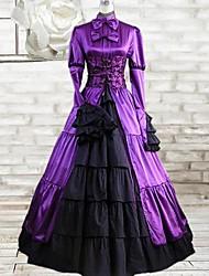 Long Sleeve Floor-length Purple and Black Silk Classic Lolita Dress