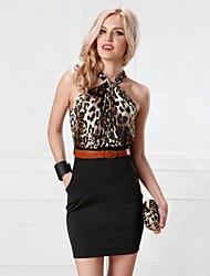 fino vestido de cintura sexy halterleopard de night®women da véspera
