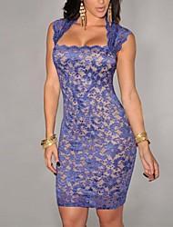 Women's Square Neck Dress , Spandex/Polyester Knee-length Sleeveless