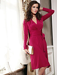 Abigail V Neck Long Sleeve Fuchsia Fashion Fitted Dress