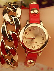 Amo Alloy Fashion Chain Watch_Red