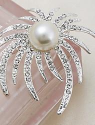 fashion folha indivíduo liga de prata forma broches de strass mulheres