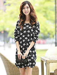 Women's Round Collar Long Sleeve Printing Dresses