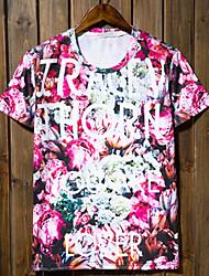 Casual impressão T-shirt curtos da luva dos homens