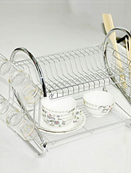 Kitchen Double Layers Dish Rack with Half-Transparent Plastic Tray