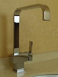 grifo de la cocina sola manija de bronce contemporáneo (cromado)