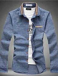 Masculino Camisa Casual Cor Solida Manga Comprida Algodão / Outros Azul / Cinza