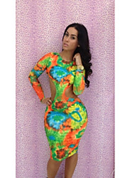 Micolor Sexy Long Sleeve Floral Printed Bodycon Dress