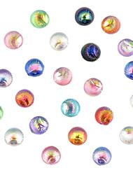 24pcs encantador colorido reluciente cola fénix uñas redonda decoración del arte