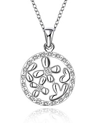 Silver-Plated Flowers Shape Silver Necklace
