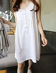 Women's Dress Mini Sleeveless White / Green Others Spring / Summer
