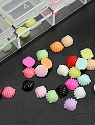100pcs mix de acessórios shell resina cor não incluem caixa 3d nail art decoração