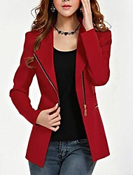Women's Plus Size Zipper Black Red Jacket, Work/Casual Lapel Long Sleeve