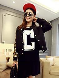 Zian® Women's Round Neck Cardigan Space Cotton Long Sleeves Jacket Coat