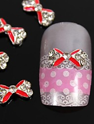 10pcs Red Crossing Rhinestone Bow Tie DIY Alloy Nail Art Decoration