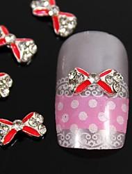 10pcs rouge passage strass noeud papillon alliage diy nail art décoration