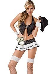deus sexy de jogadores traje preto terylene das mulheres halloween