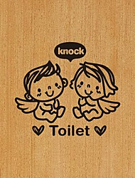 Wall Stickers Modern Bathroom PVC Wall Decals Angels Knock the Toilet