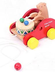 Children's Wooden Drums Bear Drag Car