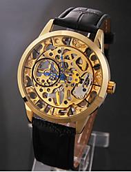 Men's Elegant Gold Skeleton Black Leather Band Manual Mechanical Wrist Watch