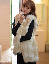 YIFULU Sleeveless Slim Fashion Temperament Elegance V-Neck Fur Waistcoat