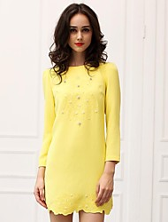 Women's Work Dress,Solid Above Knee Long Sleeve Yellow Polyester Fall