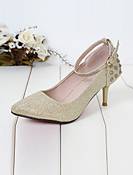 Xueling European And American Style Rivet High Heels(Gold)
