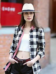 Veri Gude® Women's Button-Down Collar Contrast Color Plaid Autumn Shirt