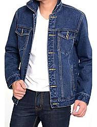 Männer neue Mode Einreiher pur Farbe Jeansjacke