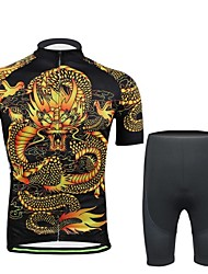 Fineou Men's Spring Summer and Fall Style China Dragon  Cycling Short Sleeve Cycling  Suits with Pocket