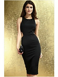 Women's Sexy / Bodycon Solid Sheath Dress , Halter Midi Polyester