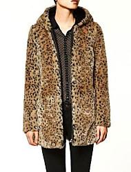 Women's Leopard Grain Imitation Fur Outerwear