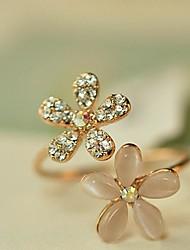 Feminino Anéis Grossos Ajustável Aberto bijuterias Imitações de Diamante Opala Liga Formato de Flor Margarida Jóias Para Diário
