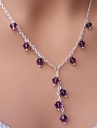Shixin® Classic Purple Crystal Silver Pendant Necklace(1 Pc)