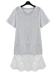 Ferro de prata t-shirt de manga curta das mulheres e condoer cinto de seda vestido de duas peças