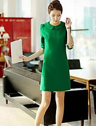 co co revers cou moulante couleur unie robe de zhang femmes